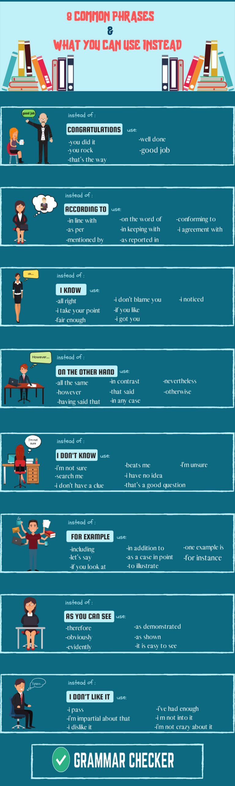8 Common phrases and what you can use instead (Infographic)